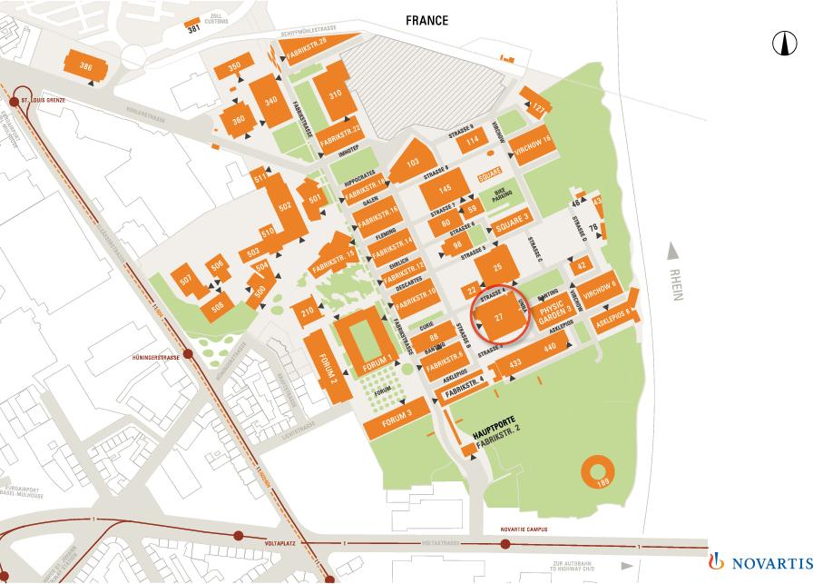 Lageplan Novartis Fitnesscenter